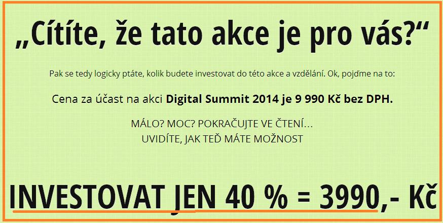 kolik stojí vstupenky na Digital summit