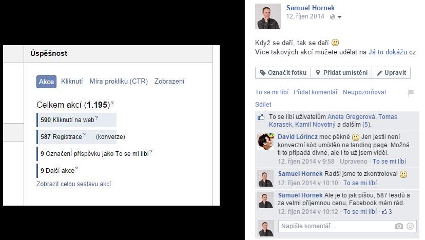 Výsledek kampaní na Facebooku 2014
